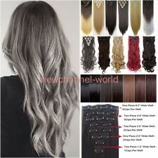 New Real Full Head as Remy Human Hair Extensions Clip in on Black Brown Blonde