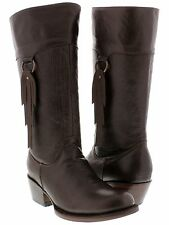 Womens Smooth Brown Leather Fashion Western Cowboy Cowgirl Boots Rodeo New