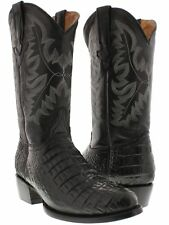 Men's Black Genuine Leather Exotic Crocodile Alligator Belly Cowboy Boots