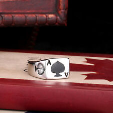 316L Stainless Steel Ring Fine Mens Jewelry Poker Ace of spades CB83