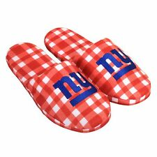 Pair of NY New York Giants Flannel Logo Slippers NEW - Plaid - House shoes!