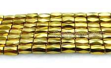 "SALE 5*8mm column Faceted Gold Hematite Magnetic Loose Beads strand 15""-los708"
