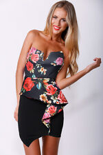 Tina Black Red Floral Front Frill Detail Bandeau Bodycon Dress