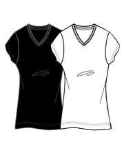 Womens Plus Size V-Neck Wicking T-Shirt With Cotton- Black/White 1X
