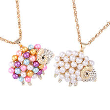 Stylish Womens Pearl Cute Sheep Pendants Chain Sweater Necklace Jewelry Gift