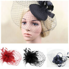 Womens Fascinator Hat Party Church Fascinator Wedding Hair Clip Feather