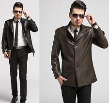 Mens Slim Trench Coat Luxyry Winter Long Jacket Leather Overcoat Classic