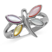 Multi Colored Mother Of Pearl Inlay 925 Sterling Silver Dragonfly Ring