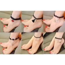 Gothic Black Lace Chain Anklet Ankle Bracelet Barefoot Sandal Beach Foot Jewelry