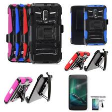 Phone Case For Motorola Moto G Play Droid Tempered Class Screen Holster Cover