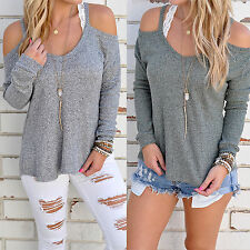 Women Lady Casual Sexy off shoulder Top Knit Pullover Oversized Blouse Shirt New