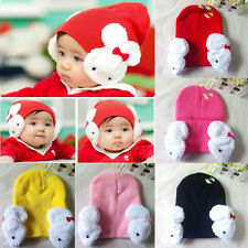 Toddler Baby Kids Girls Boys Winter Ear Flap Warm Hat Beanie Cap Crochet Rabbit