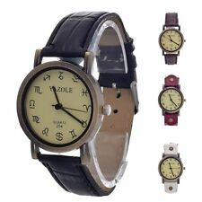 NEW Fashion Faux Leather watch Sport Analog Quartz Wrist Watch For Men Women