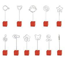 Red Resin Cube Wire Memo Paper Note Recipe Clip Photo Name Card Badge Holder