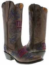 Womens NFL Collection New York Giants Brown Leather Western Cowboy Cowgirl Boots