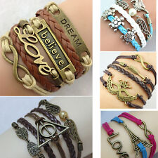 New Infinity Love Tower Crown Friendship Antique copper Leather Charm Bracelet