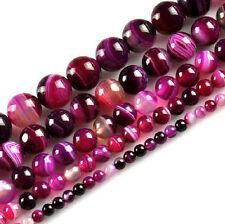 Wholesale Pink Striped Smooth Round Gemstone Loose Spacer Beads 4/6/8/10/12MM