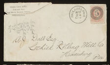 USA cover - scott 159, six cents pink, numeral Philadelphia postmark