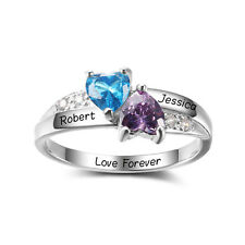 Personalized Gifts Custom 925 Silver Birthstone Name Ring Promise Couple Rings