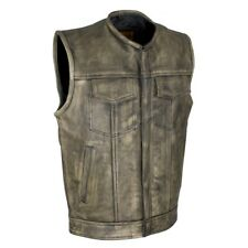 MENS MOTORCYCLE DISTRESSED BROWN LEATHER VEST w/ CONCEALED GUN POCKETS - DA99