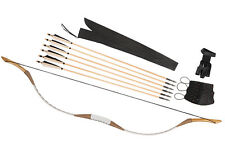 Archery White Pigskin Longbow Hunting Horsebow 15-80LBS 6 pcs Wooden Arrows