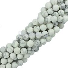 "Craft Round White Howlite Turquoise Gemstone Loose Beads 15"" Strand DIY 6mm 8mm"