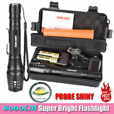 8000LM G700 X800 CREE XML T6 LED Zoomable Tactical Military Flashlight Torch Set