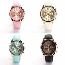 Geneva Raman Numerals Case Leather Analog Quartz Womens Lady Girl Wrist Watch