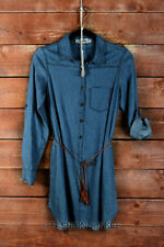 SOLID BLUE (89) DENIM Wash Belted SHIRT DRESS BUTTON UP TOP Cuff Chambray S M L