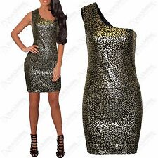 NEW LADIES SEQUIN GOLD FOIL LEAOPARD PRINT MINI DRESS ONE SHOULDER BODYCON TOP