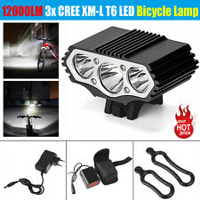 12000LM 3x XM-L T6 LED Bicycle Bike Light Headlight Head Front Lamp +Battery Set