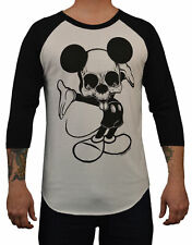 Men's Ta Da by Josh Stebbins Baseball Tee White Black Dead Mickey Mouse T-Shirt