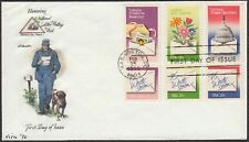 1980 Letter Writing Week 15c Set of 6 Stamps one FDC Sc1805-10 Nita Hand Colored