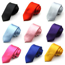 Tie Narrow Necktie Solid Color Woven Skinny Slim Men's Silk Party Business Tie