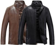 Mens Leather Jacket Warm Quilted Business Outerwear Winter Motorcycle Coat NWT
