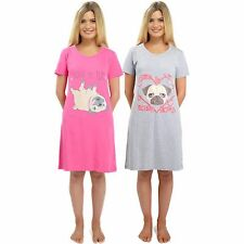Ladies Short Sleeve Pug Nightdress Cotton Jersey Size 8-22 Night Shirt Nightie