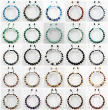 """8mm Or 10mm Mixed Stone Hand-knitted Round Beads Adjustable Bracelet 7.5 """" JK87"""