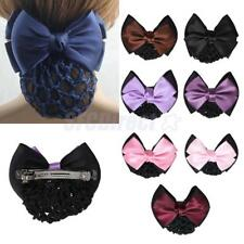 Fashion Women Bowknot Hair Clip Cover Bun Snood Crochet Hair Net Hair Accessory