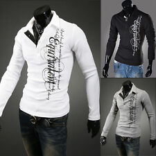 Hot Mens Stylish Slim Fit Casual Fashion T-shirts Polo Shirt Long Sleeve Tops Ds