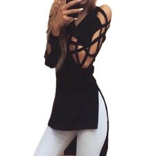 2016 Sexy V-Neck Long Sleeve Women Fashion Shirts Irregular Hem Blouse Black Hol