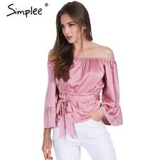 Simplee Apparel sexy off shoulder ruffle bow blouse shirt Soft satin flare sleev
