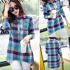 Women Fashion New Casual Long Sleeve Lapel Long Plaid Shirt Blouse
