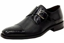 New in Box Mezlan Mens Phoenix Monk Strap Black Leather Loafers Shoes 16505