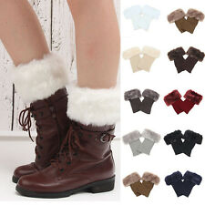 New Winter Lady Women Girl Boot Cuff Fluffy Soft Furry Faux Fur Knit Leg Warmer