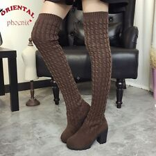 Women Boots 2016 Autumn Winter Ladies Fashion Flat Bottom Boots Shoes Over The K