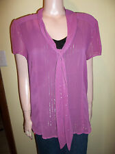 OLD NAVY SHEER FITTED SHORT SLEEVE PURPLE SHIRT GOLD THREAD XL NEW