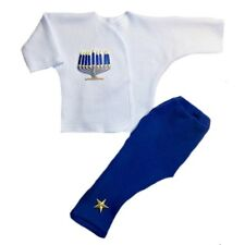 Glowing Menorah Pants and Shirt Unisex Baby Outfit - 4 Preemie and Newborn Sizes