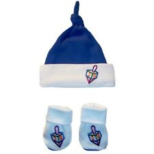 Baby Boy Jewish Darling Dreidel Hanukkah Knotted Hat and Booties Set -  6 Sizes