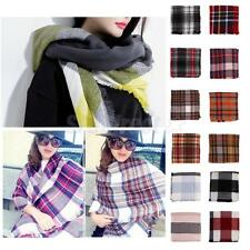 Chic Warm Tassels Plaid Cashmere Scarf Check Shawl Pashmina Wraps for Women