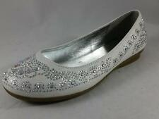 Girl's Youth CANDIES LUCINE White Rhinestone Casual/Dress Ballet Flats Shoes New